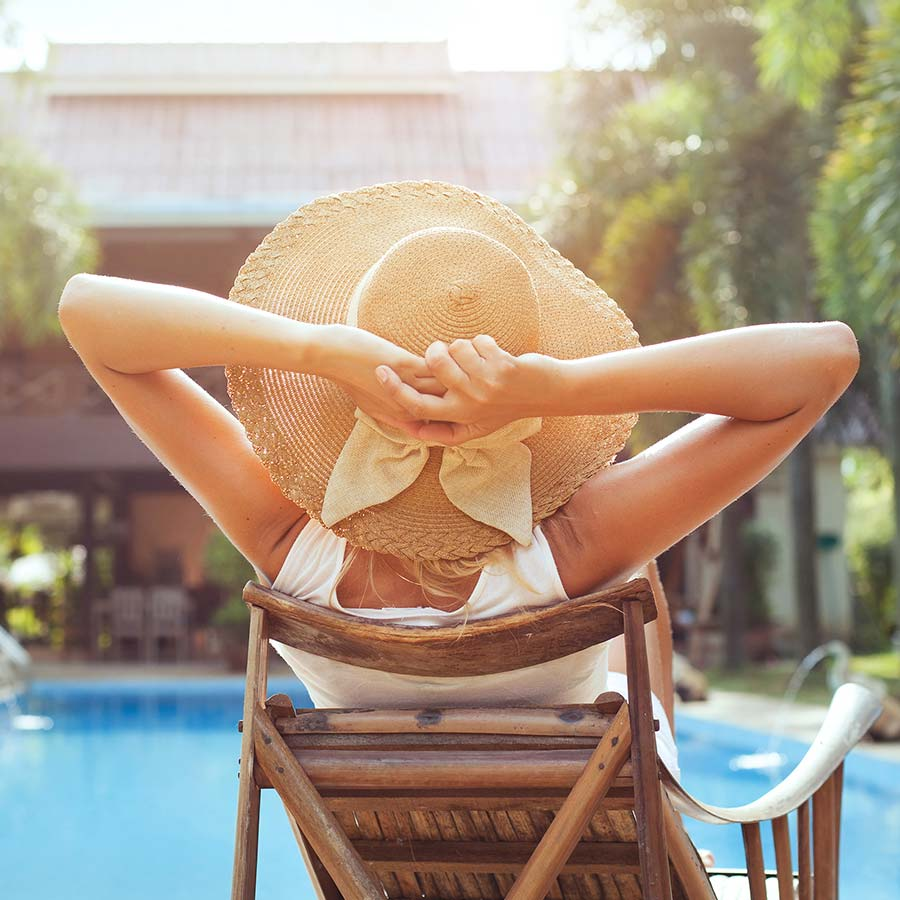 Woman Relaxing In Luxury Hotel