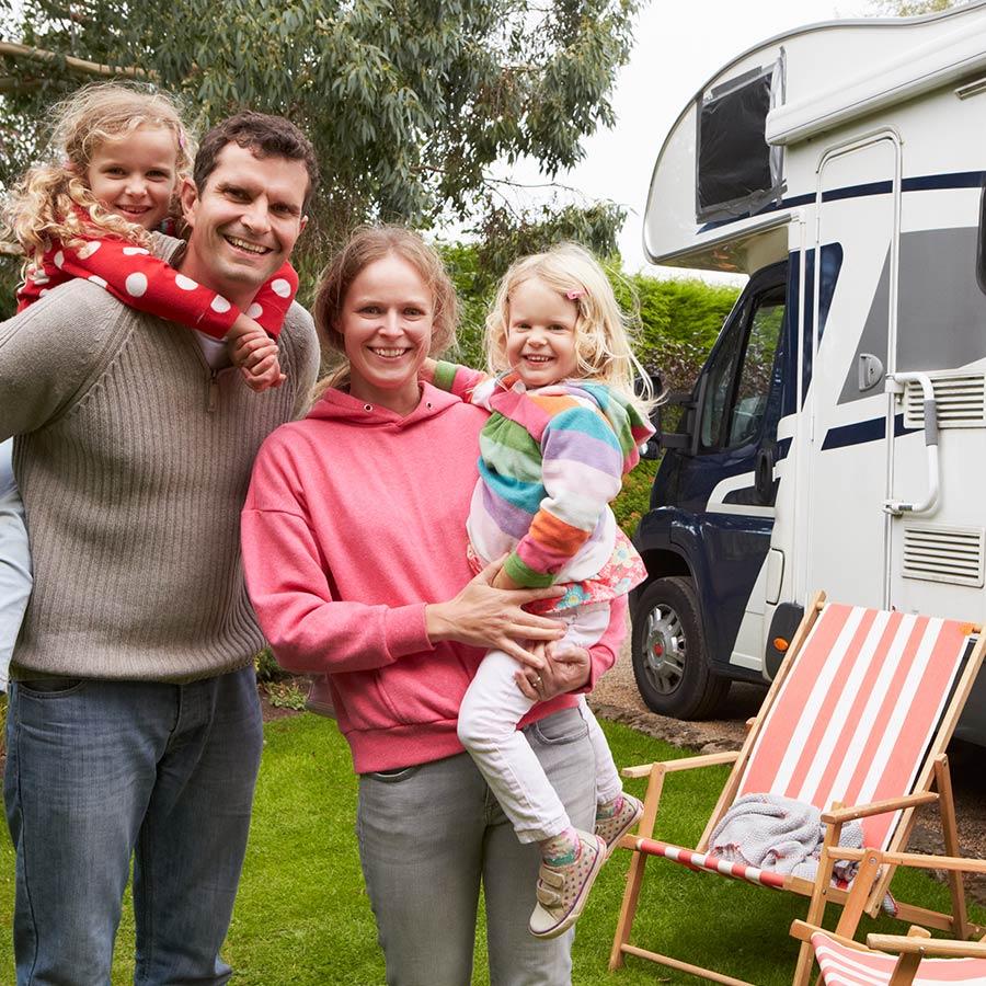Family Camping In Rv Camper