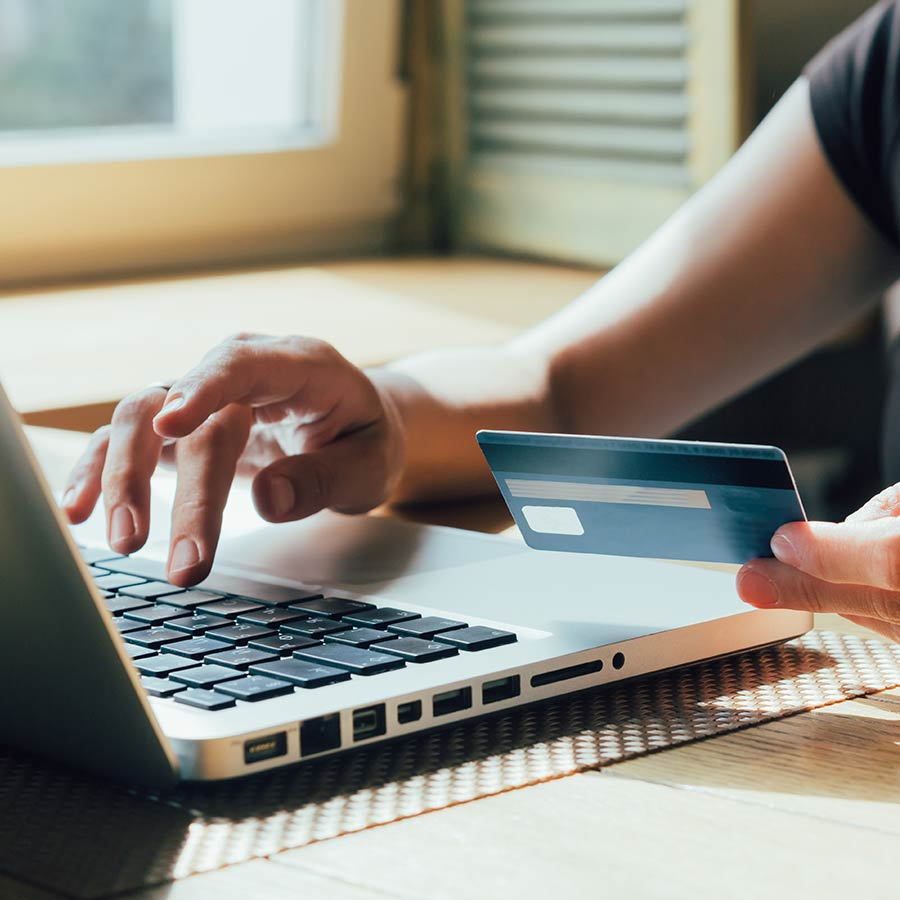 Shopping On The Internet Holding Credit Card