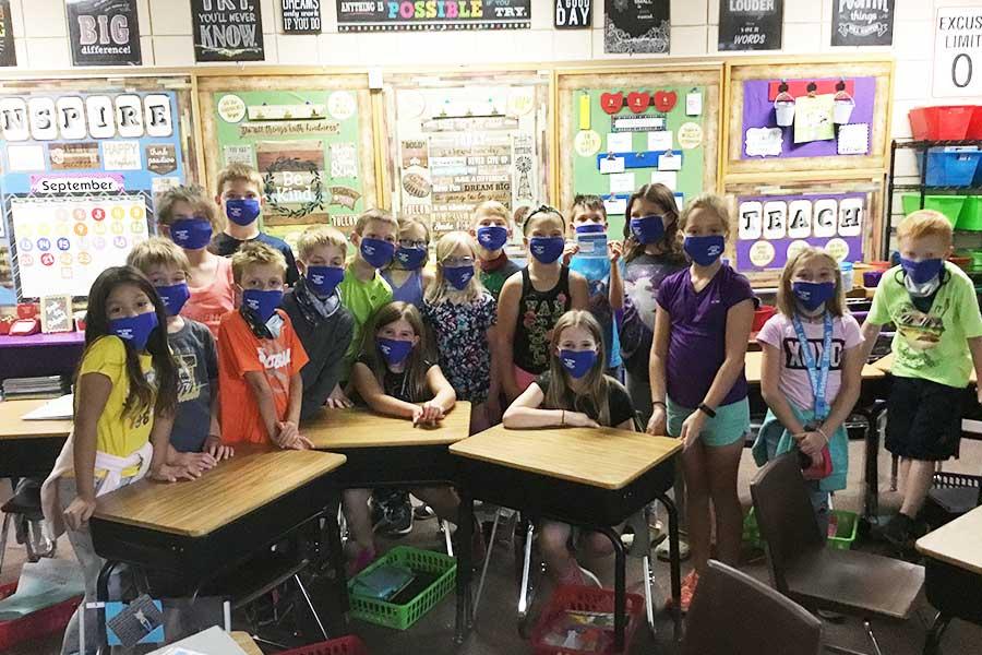 School Kids Wearing Lake Region Bank Masks