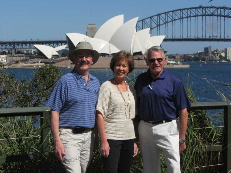 Senior Friends Infront Of Sydney Opera House From Astralia Trip