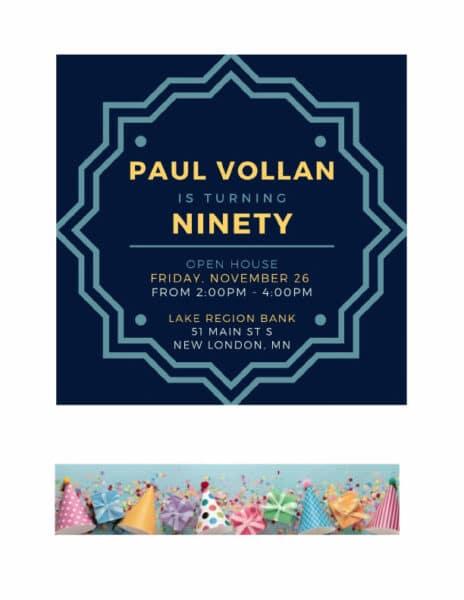Paul Vollan 90th Bday Nov 2021